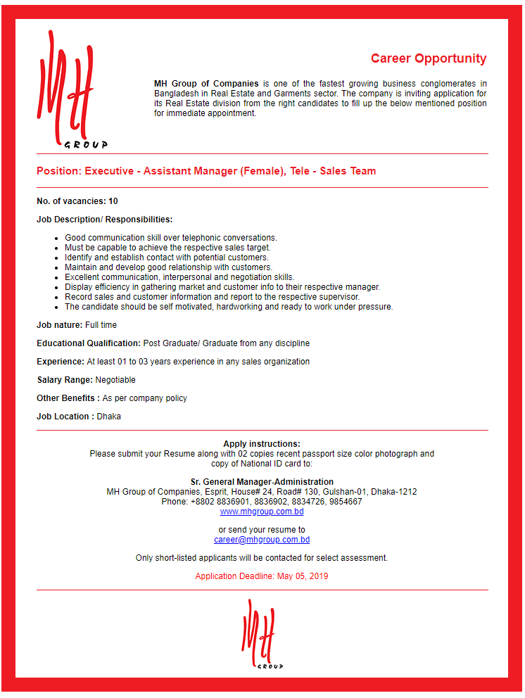 MH Group of Companies Job Circular 2019