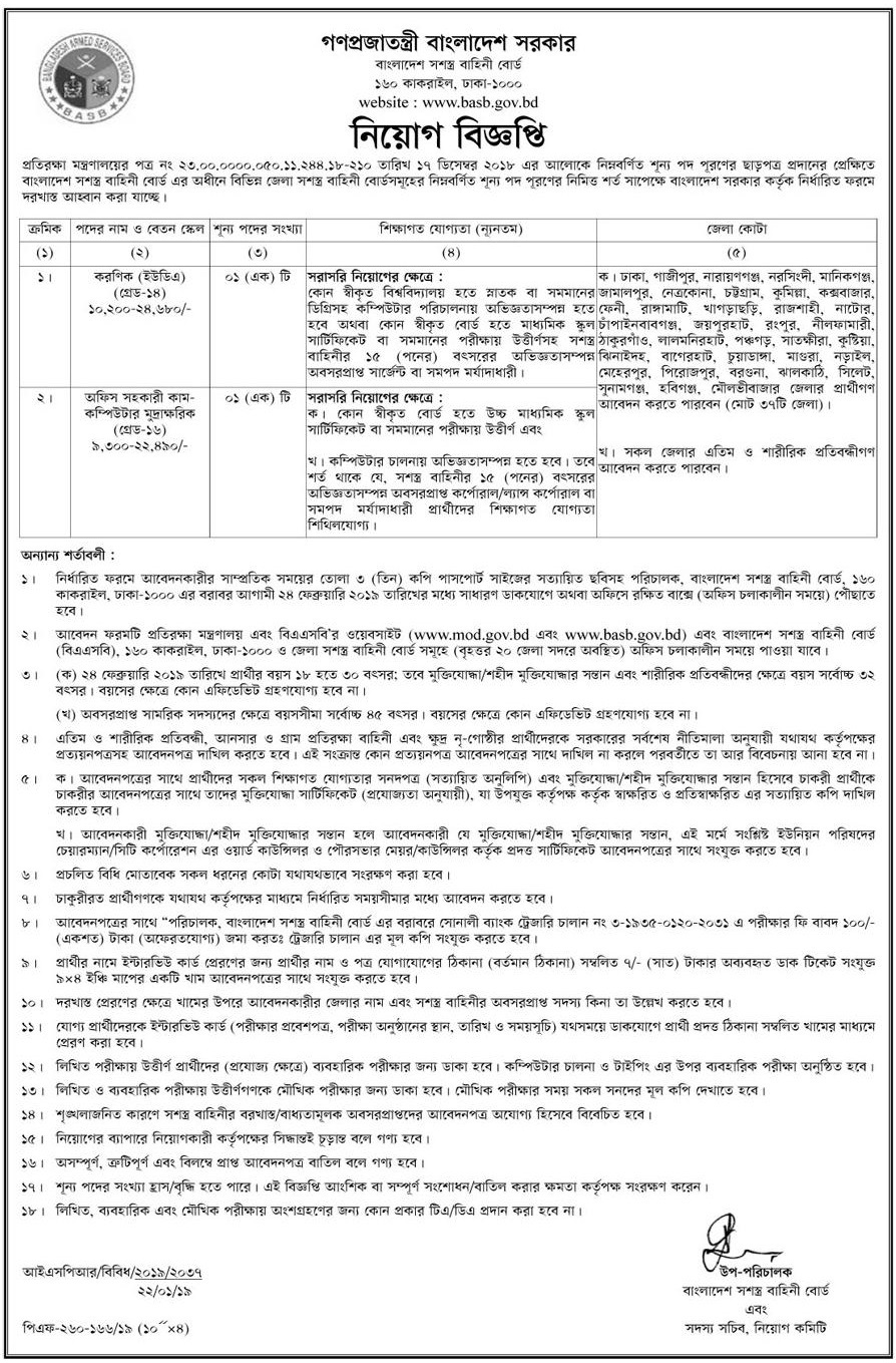 Ministry of Defence (MoD) Job Circular 2019