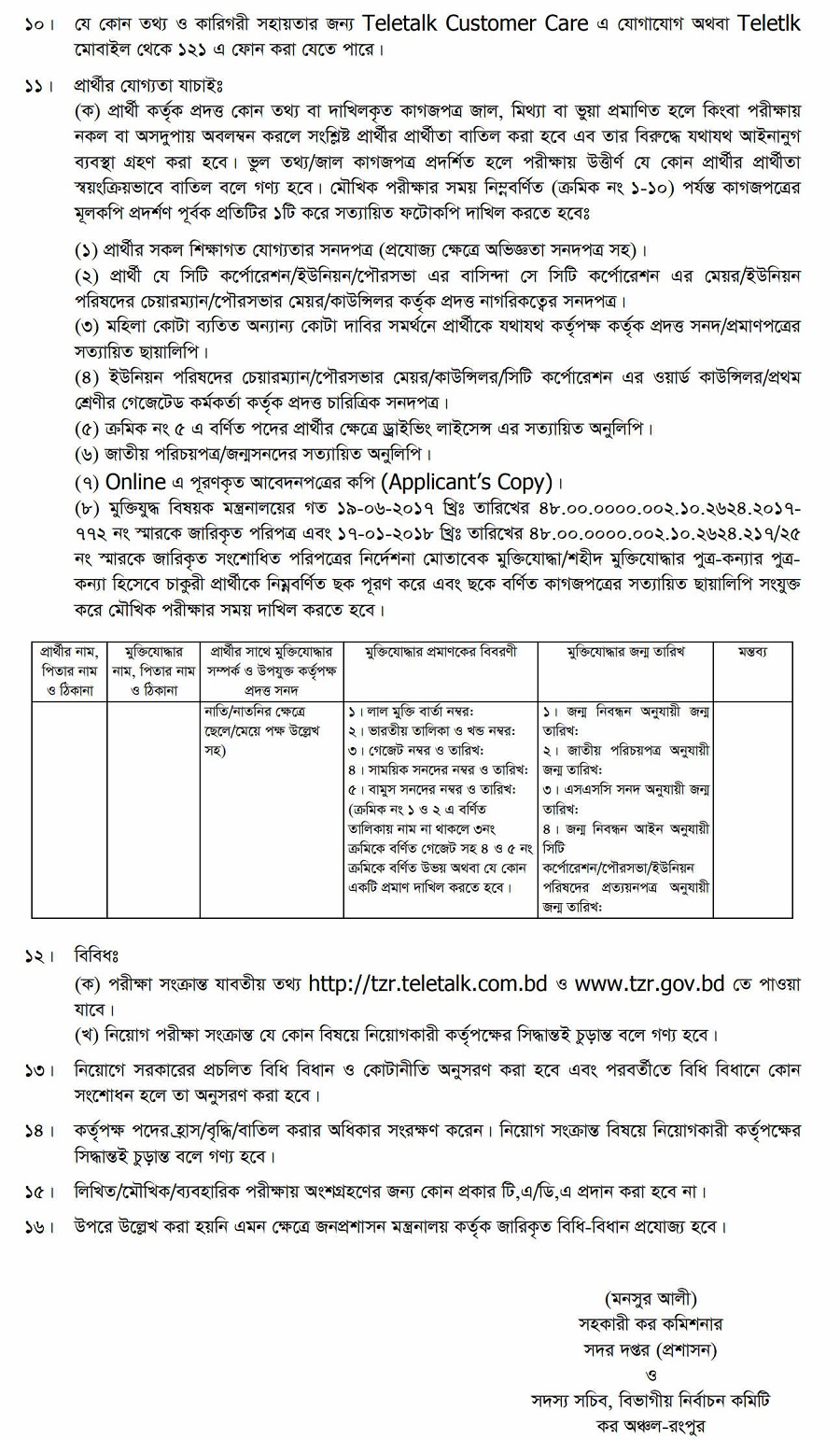 TZR Teletalk Application Form & Admit Card Download