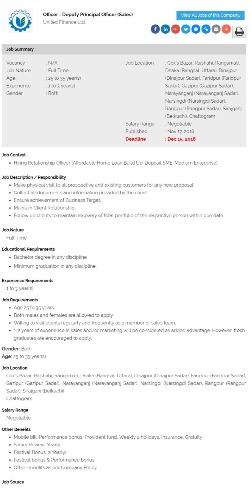 United Finance Ltd Job Circular In 2018
