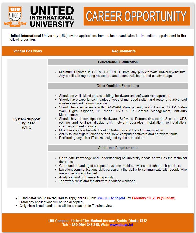 United International University (UIU) Job Circular 2019