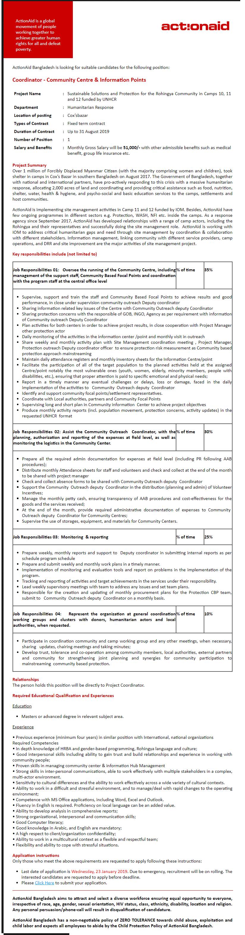 ActionAid Bangladesh Job Circular 2019