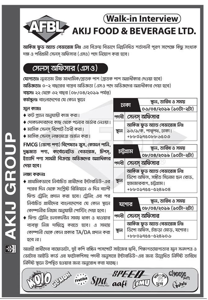 Akij Food and Beverage Ltd Job Circular 2019