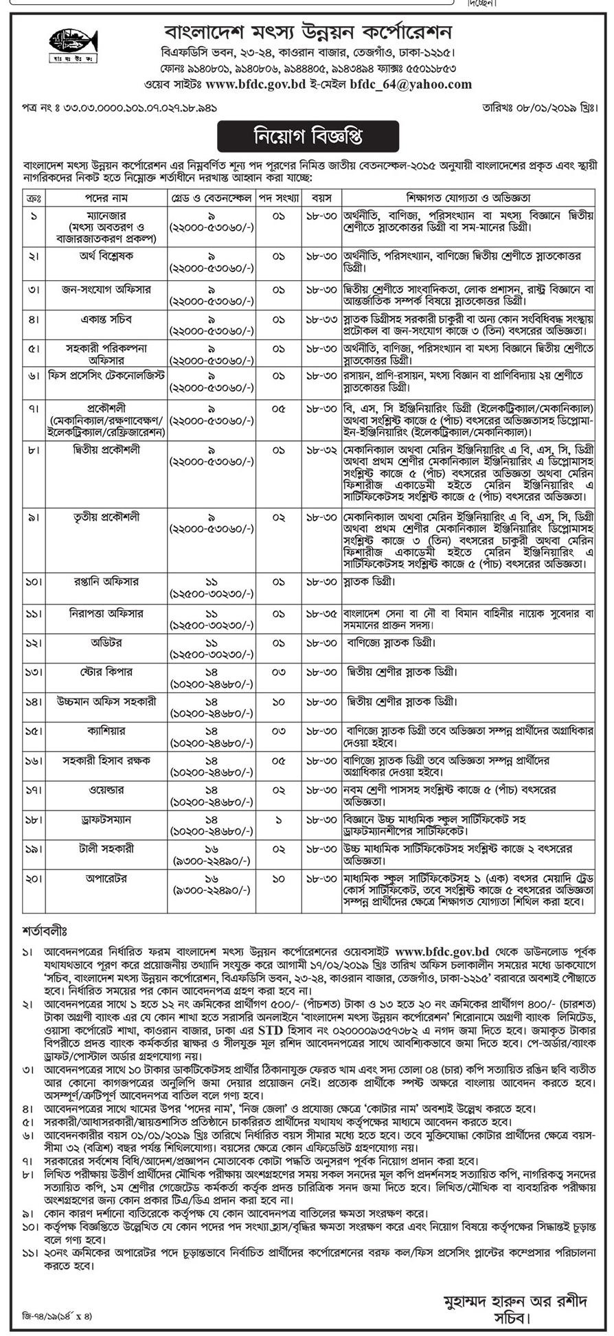 Bangladesh Fisheries Development Corporation BFDC Job Circular 2019