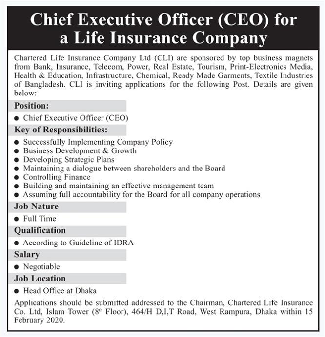 Chartered Life Insurance Company Ltd Job Circular 2020