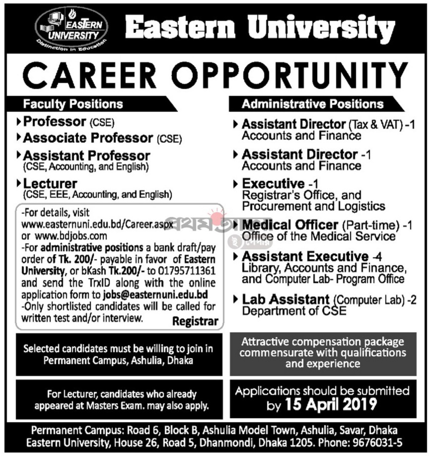 Eastern University Job Circular 2019