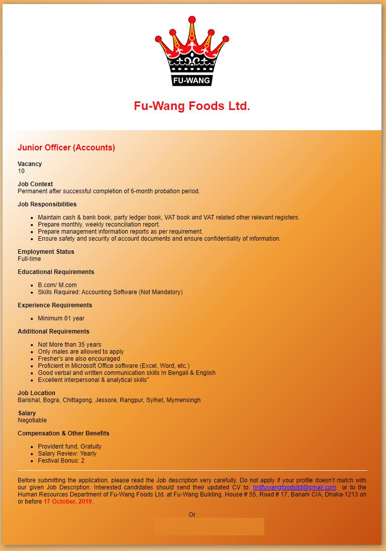 Fu-Wang Foods Ltd Job Circular 2019