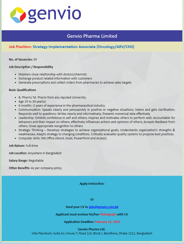 Genvio Pharma Limited Job Circular 2019