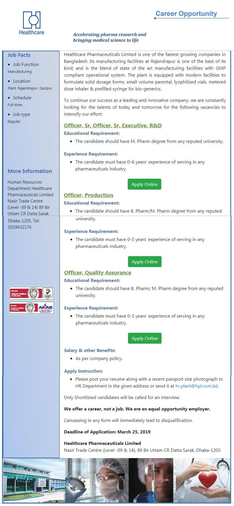 Healthcare Pharmaceuticals Limited Job Circular 2019