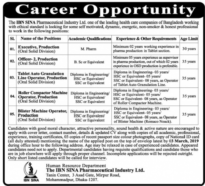 IBN SINA Pharmaceutical Job Circular 2019