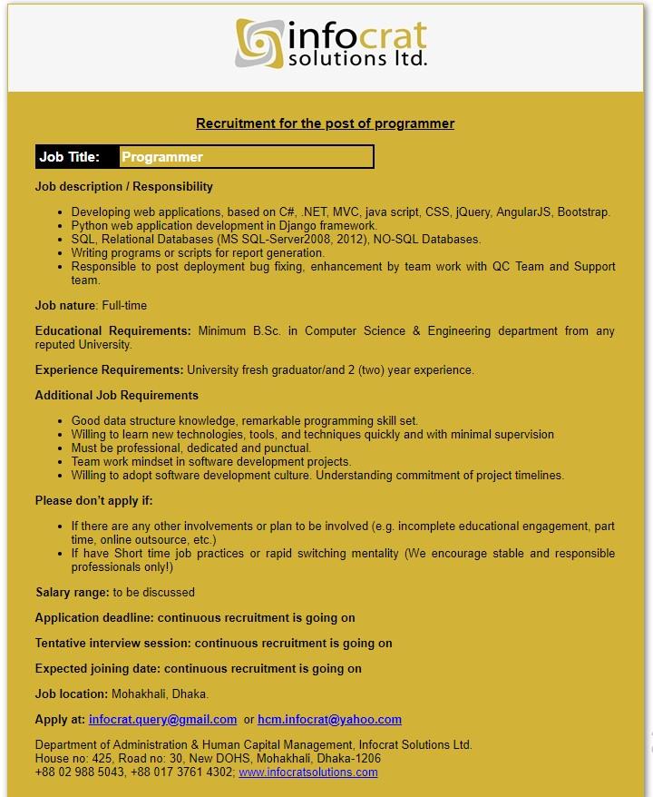 Infocrat Solutions Ltd Job Circular 2019