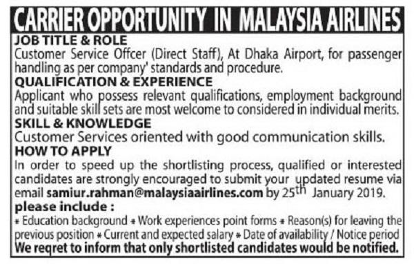 Malaysia Airlines Job Circular 2019
