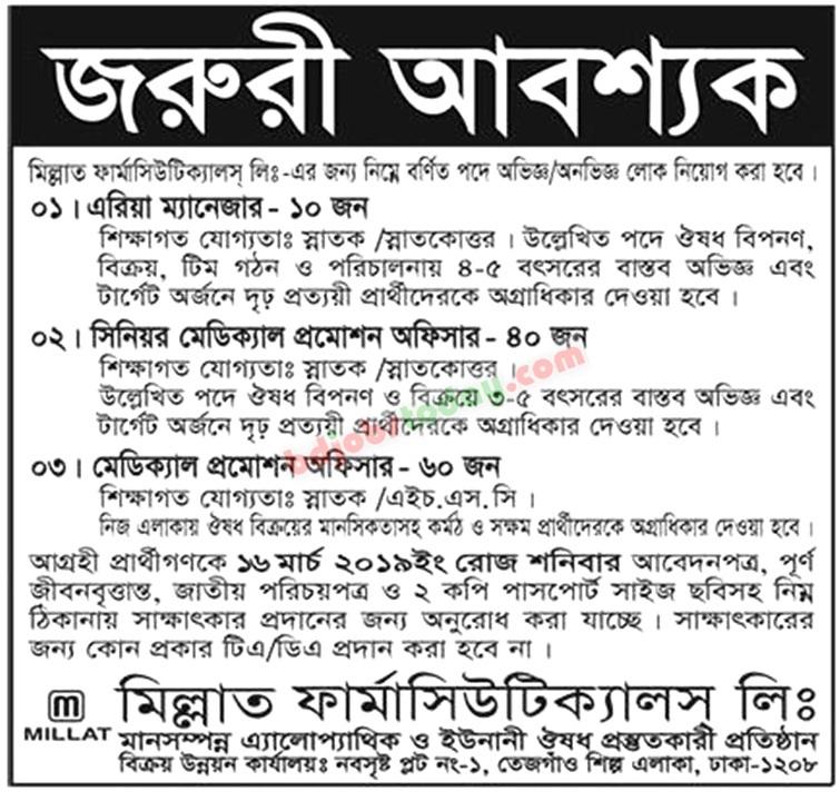 Millat Pharmaceuticals Job Circular 2019