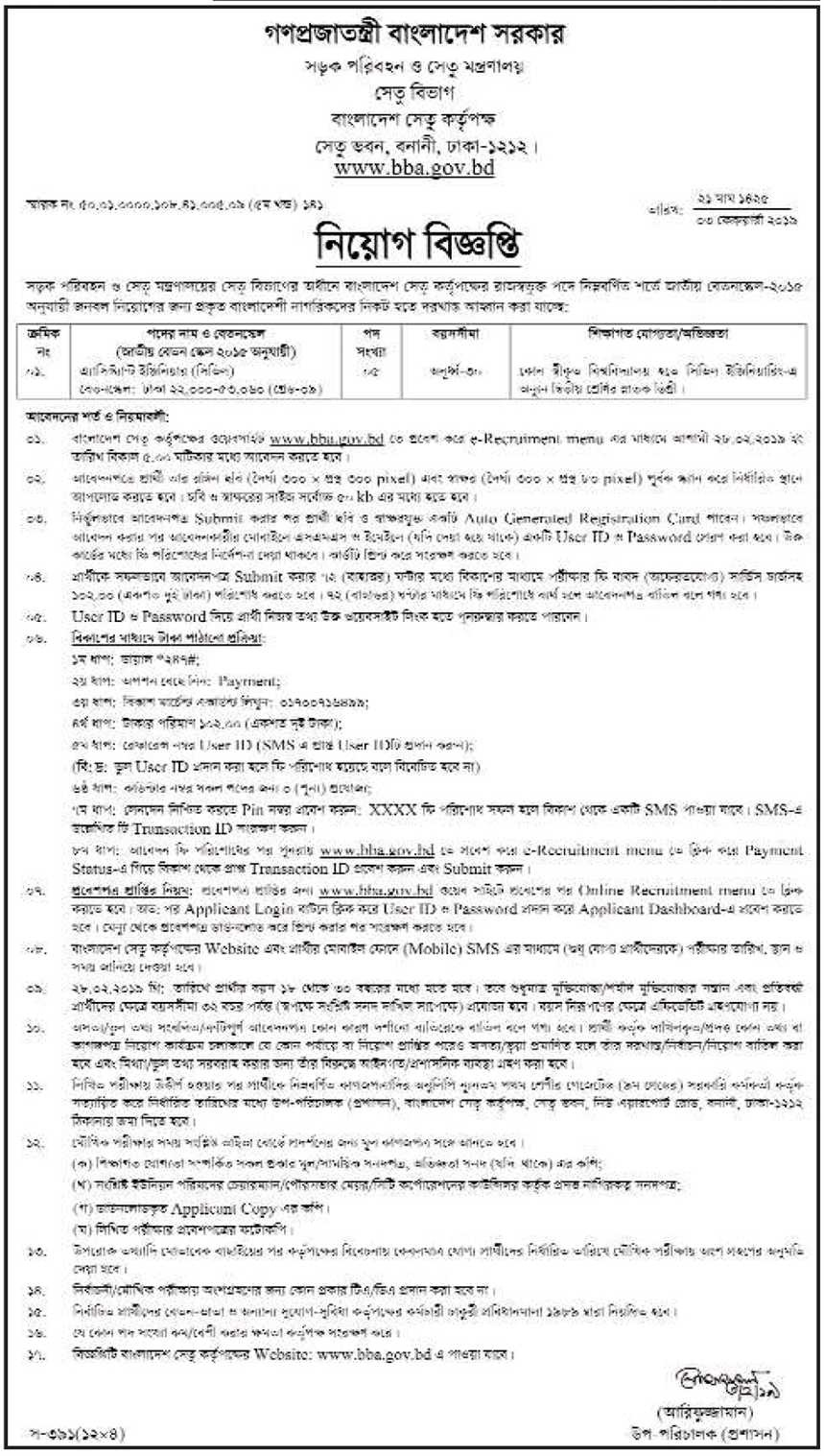 Ministry Of Road Transport And Bridges Job Circular 2019