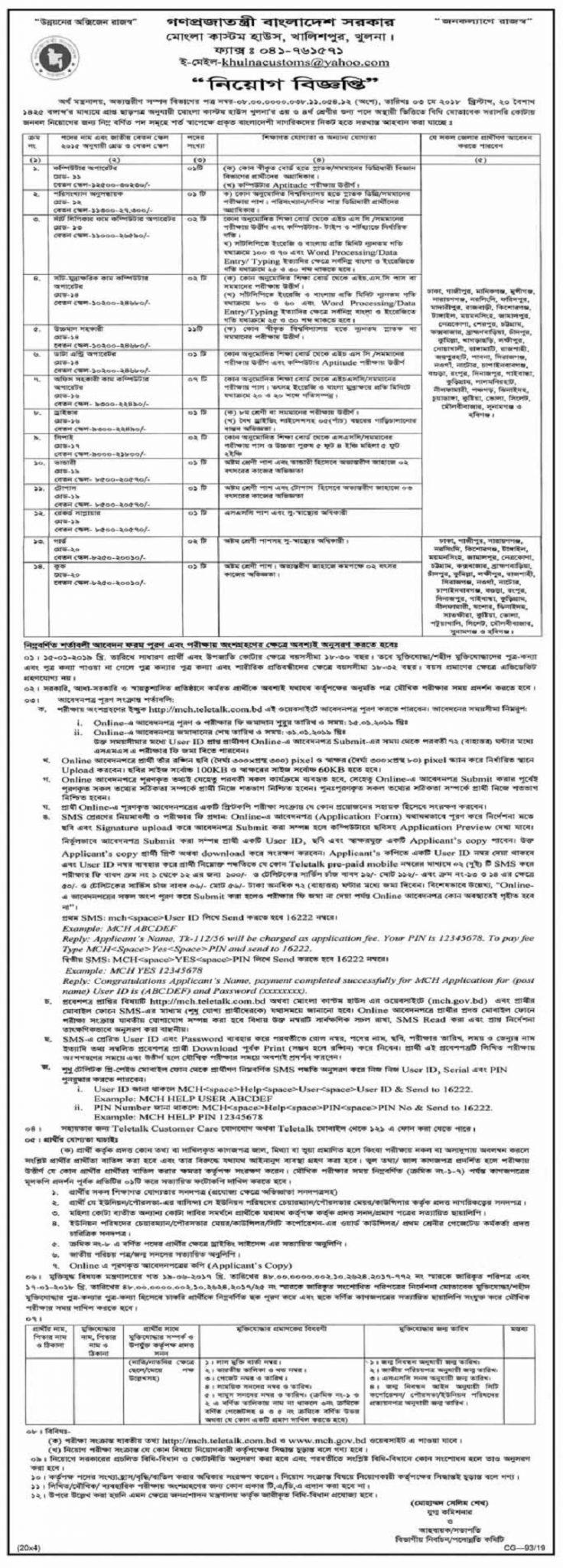 Mongla Custom House Job Circular 2019
