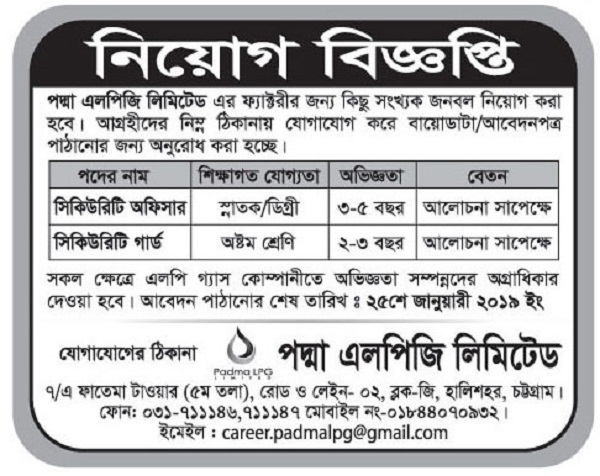 Padma LPG Limited Job Circular 2019