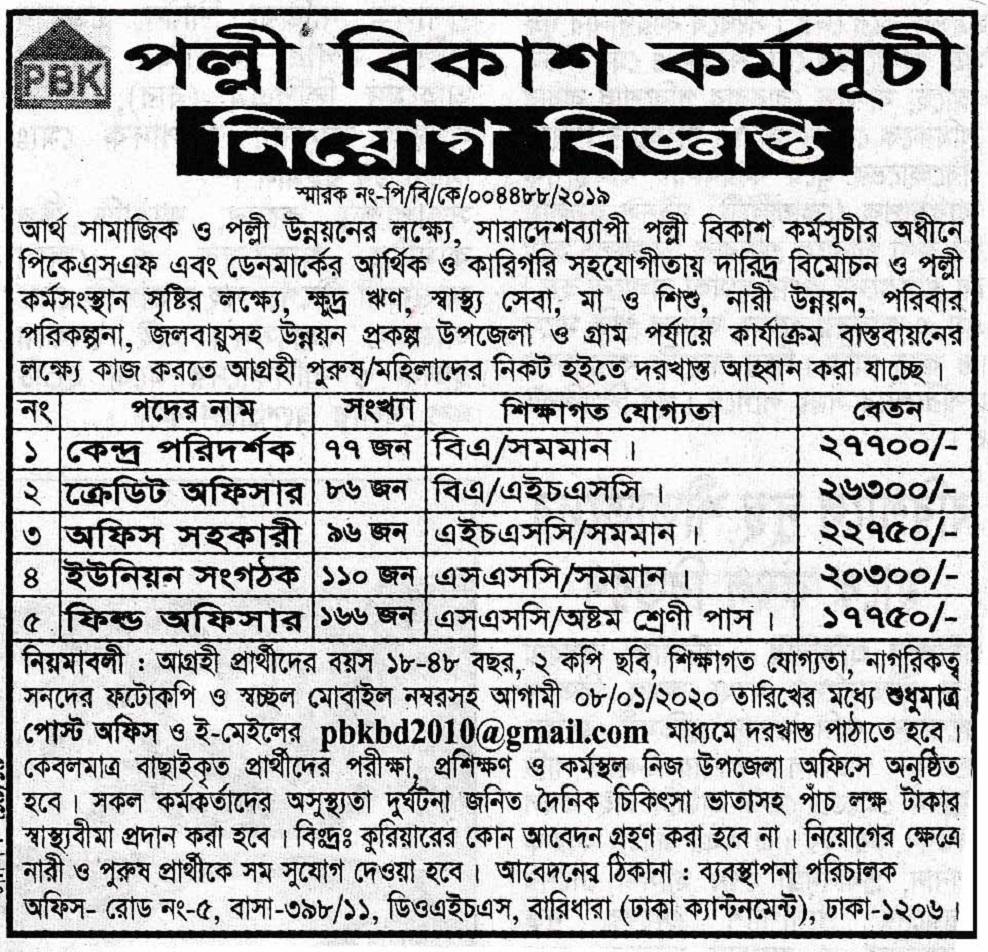 Polli Mangol Karmoshuchi (PMK) Job Circular 2020