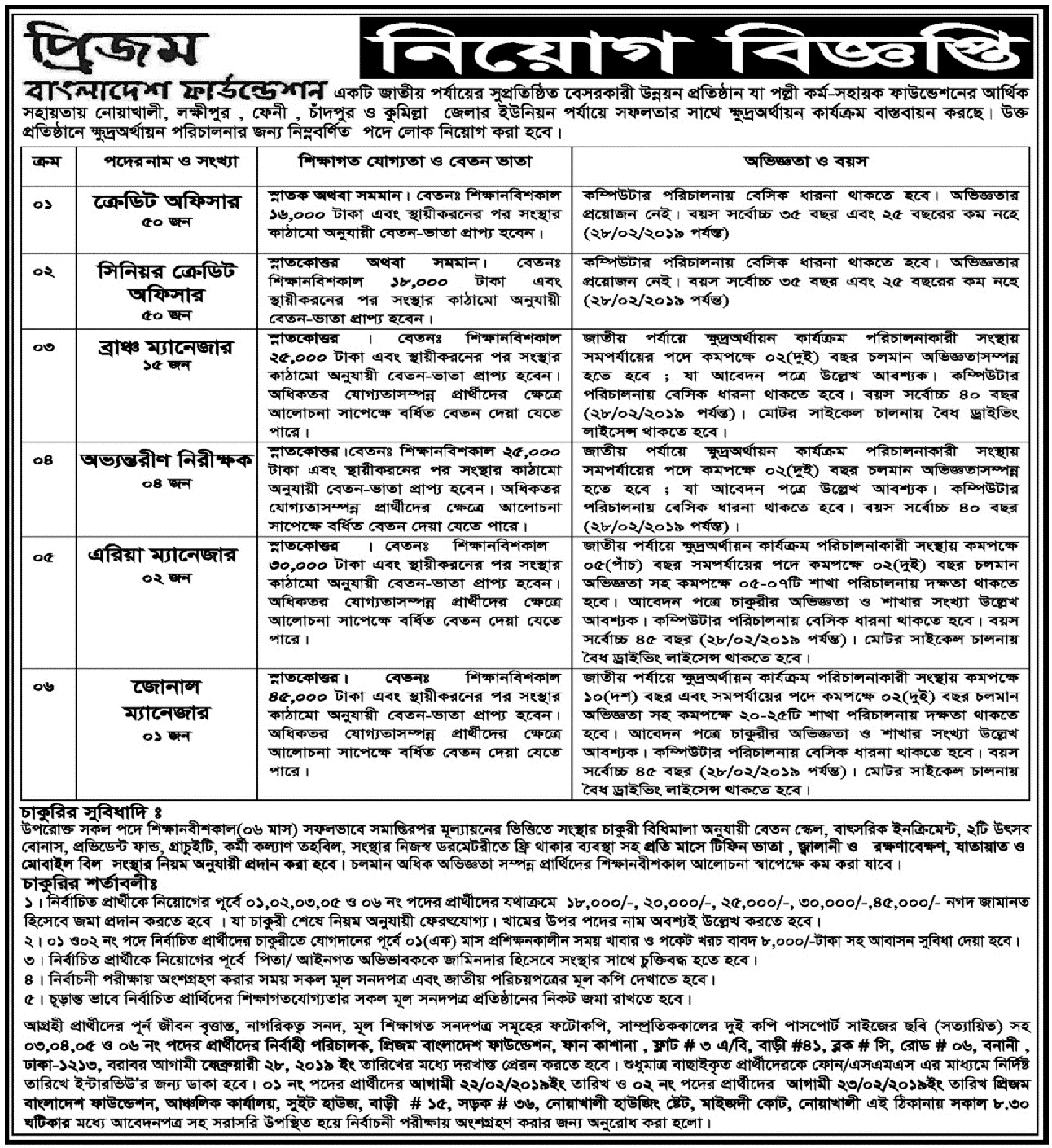 Prism Bangladesh Foundation jobs circular 2019