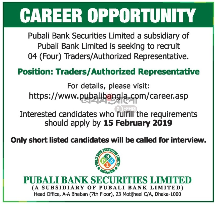 Pubali Bank Limited Job Circular 2019