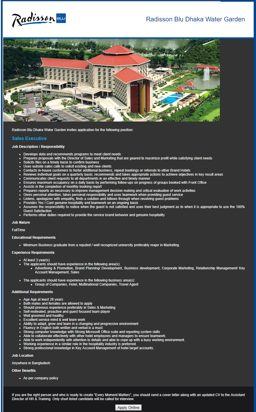 Radisson Blu Dhaka Water Garden Job Circular 2019