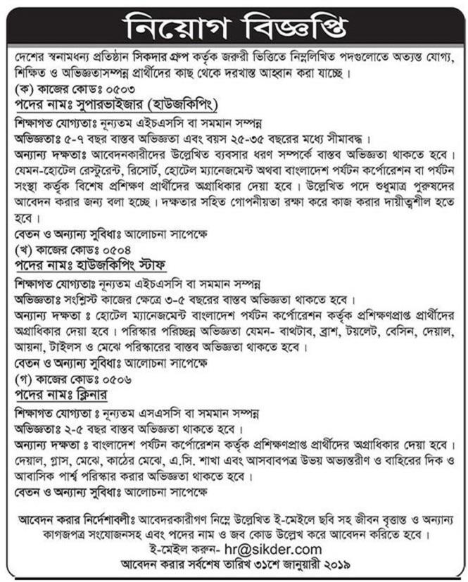 Sikder Group Job Circular 2019