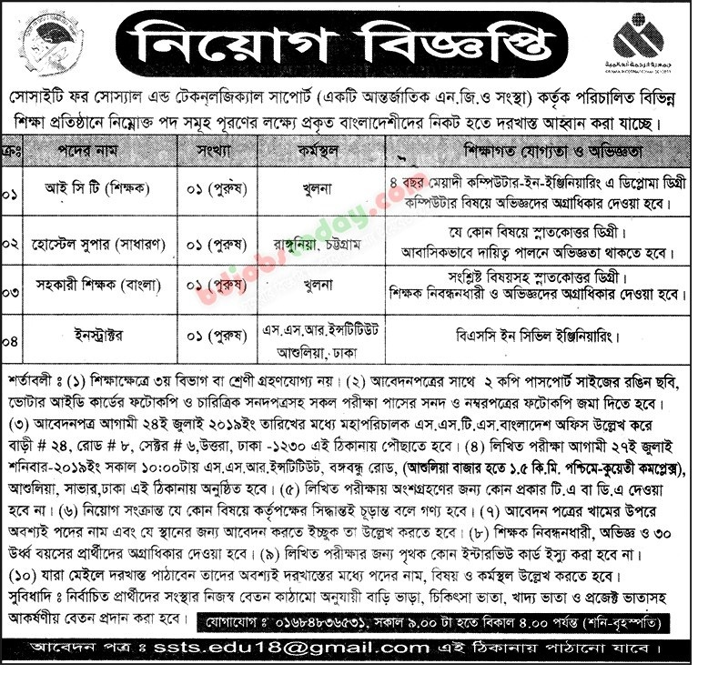 Society for Social Service (SSS) Job Circular 2019