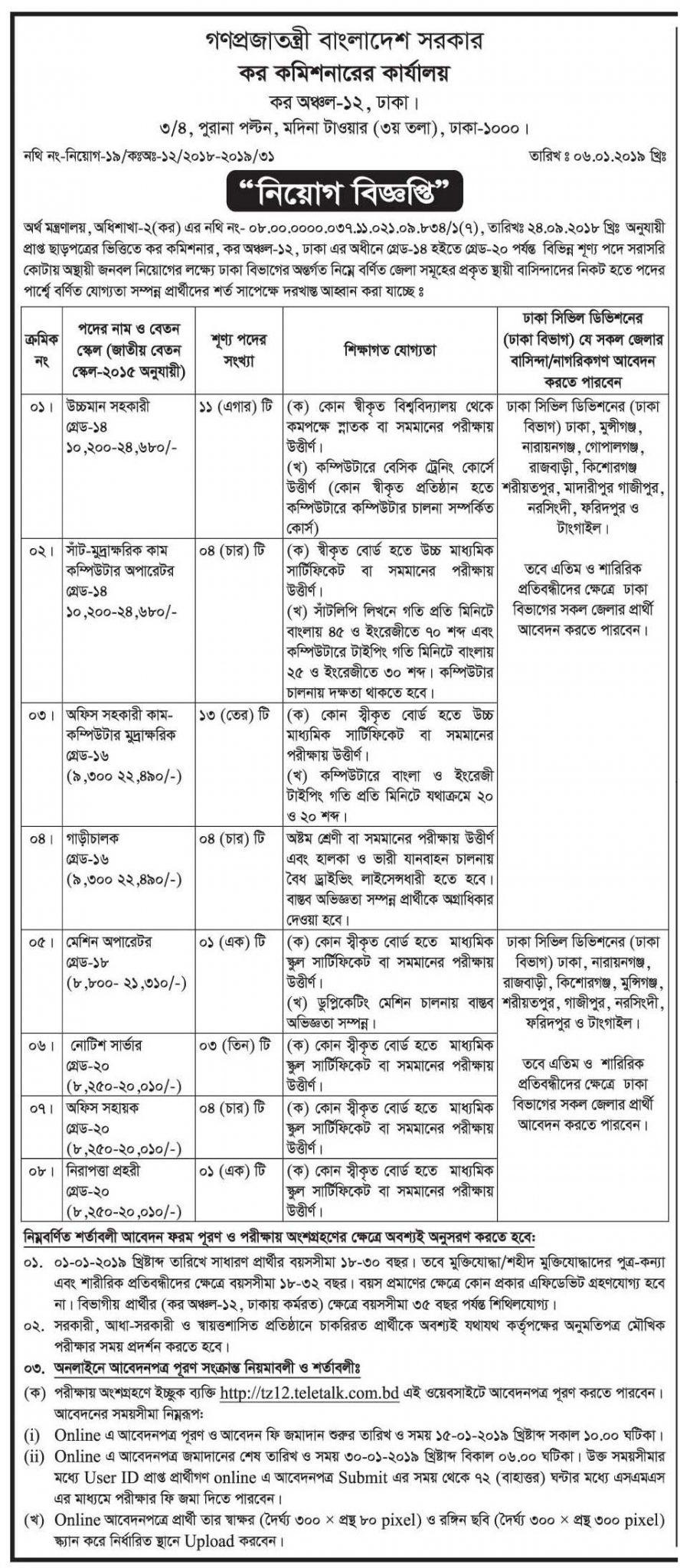 Tax Commissioner office Job Circular 2019