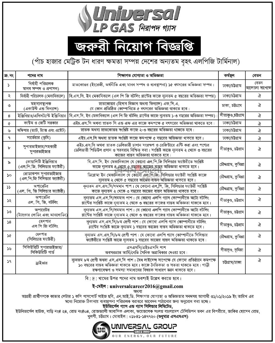 Universal LP Gas Cylinder Limited Job Circular 2019