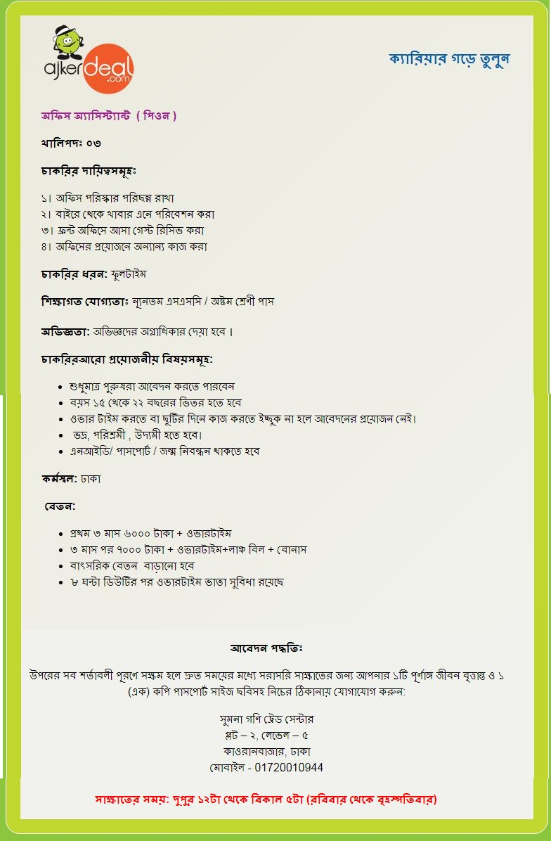 Ajkerdeal.com Ltd Job Circular 2019