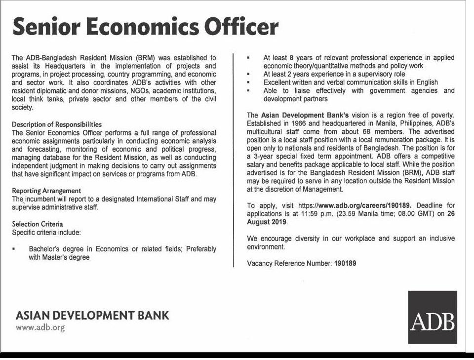 Asian Development Bank Job Circular 2019