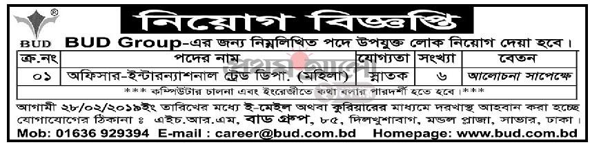 BUD Group Job Circular 2019