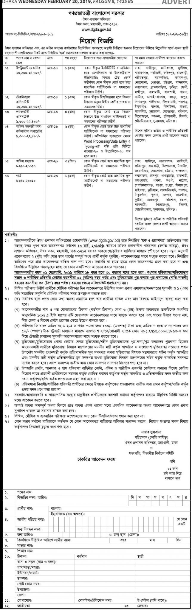 Bangladesh Directorate General of Drug Administration Job Circular 2019