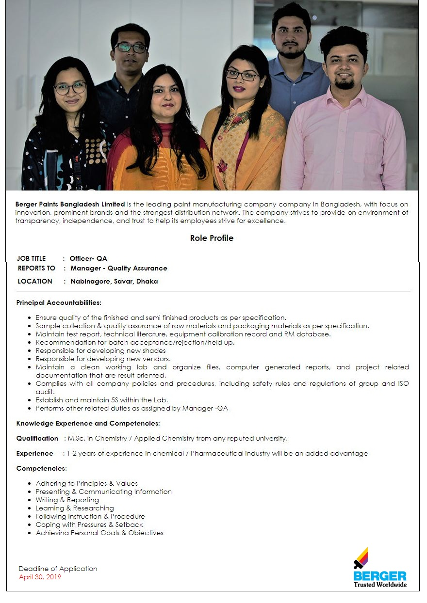 Berger Paints Bangladesh Limited Job Circular 2019