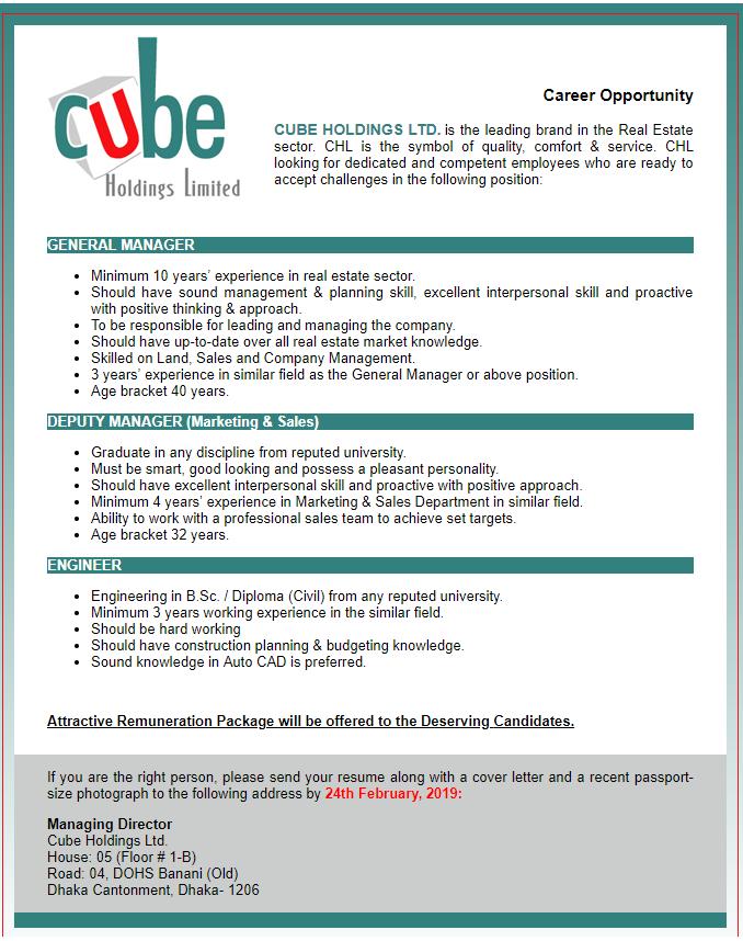 Cube Holdings Ltd Job Circular 2019