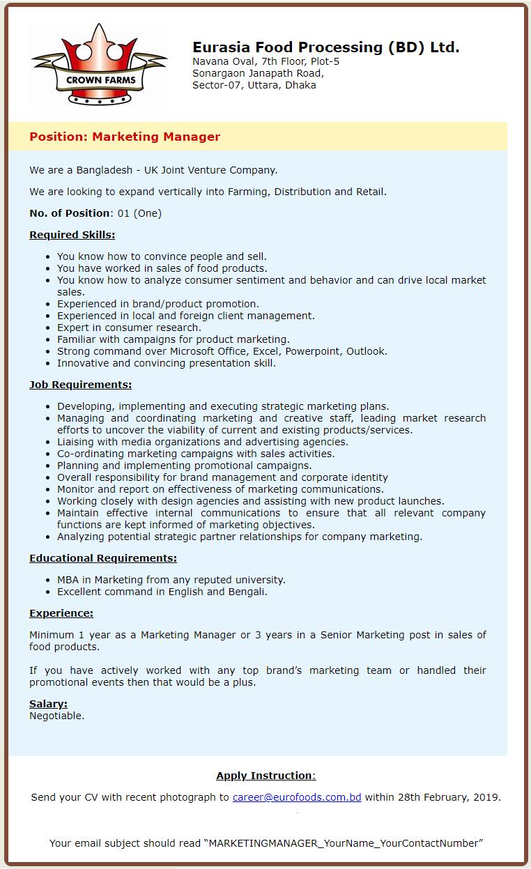 Eurasia Food Processing (BD) Ltd Job Circular 2019| BD Jobs Careers