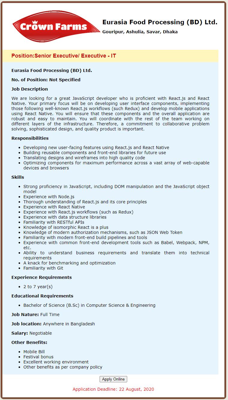Eurasia Food Processing (BD) Ltd Job Circular 2020