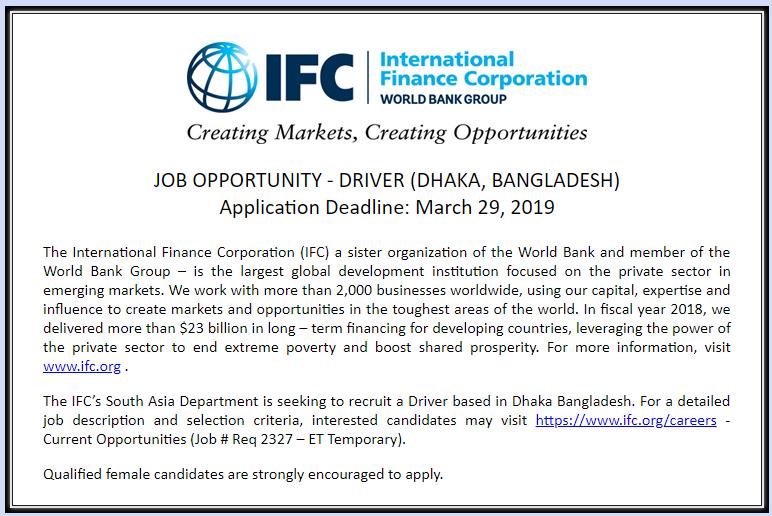 International Finance Corporation (IFC) Job News 2019