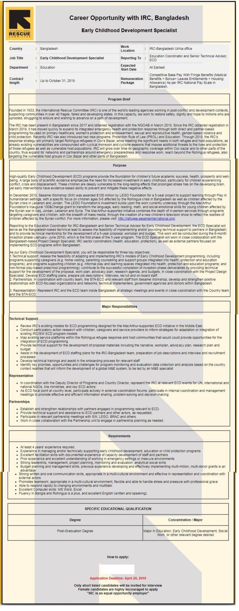 International Rescue Committee job circular 2019