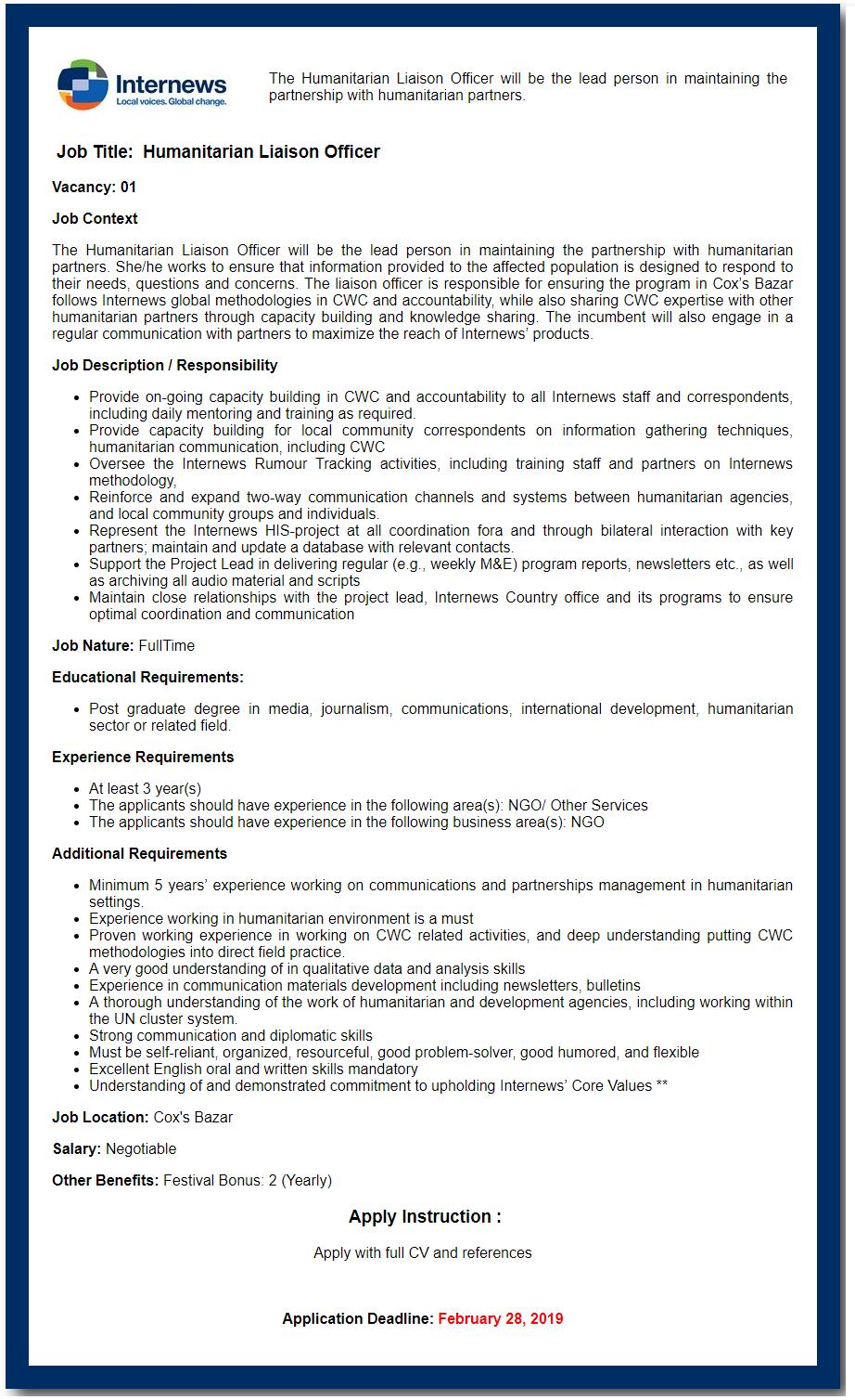 Internews Bangladesh Job Circular 2019