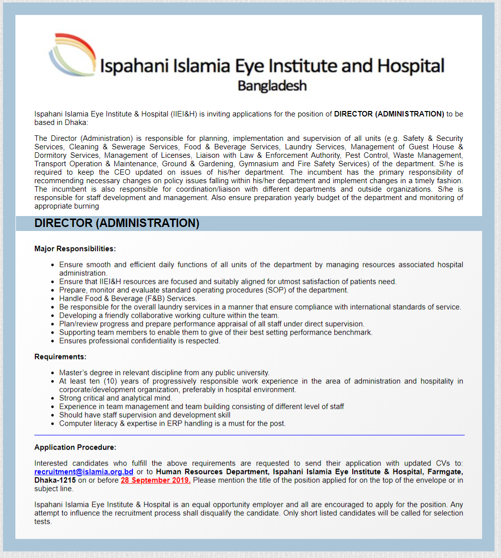 Ispahani Islamia Eye Institute and Hospital Job Circular 2019