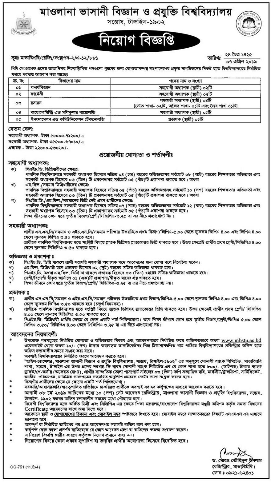 Mawlana Bhashani Science and Technology University Job Circular 2019