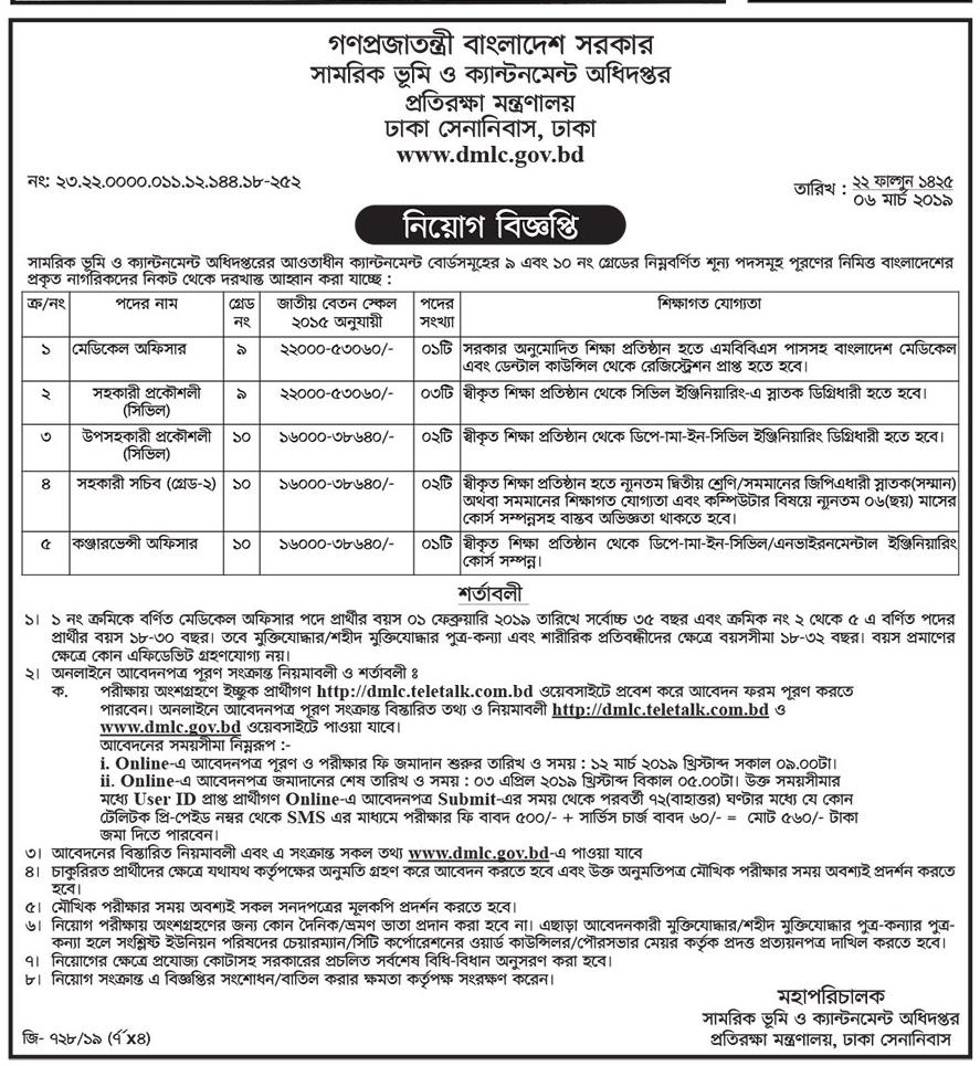 Ministry of Defence Job Circular 2019