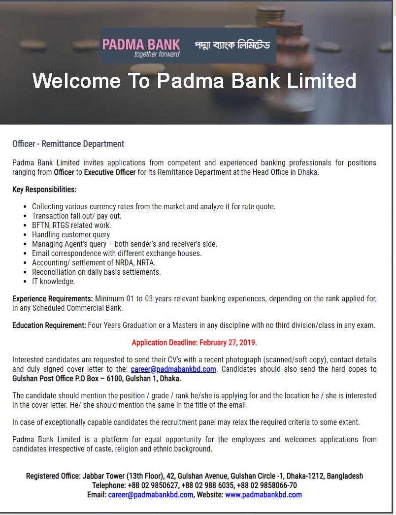 Padma Bank Job Circular 2019