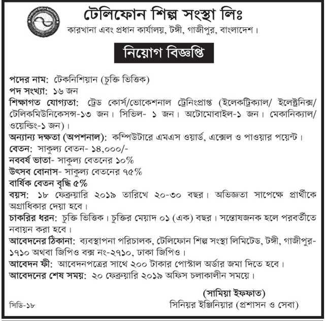 Posts and Telecommunications Division Job Circular 2019