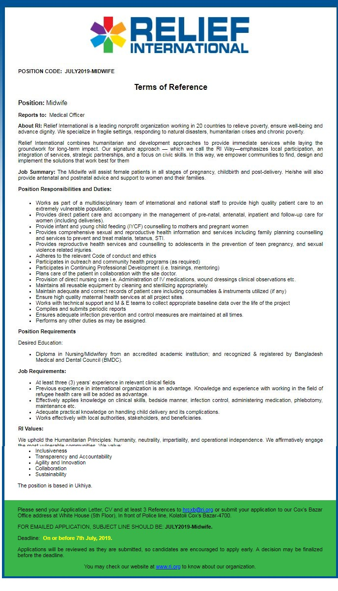 Relief International (RI) Job Circular 20149