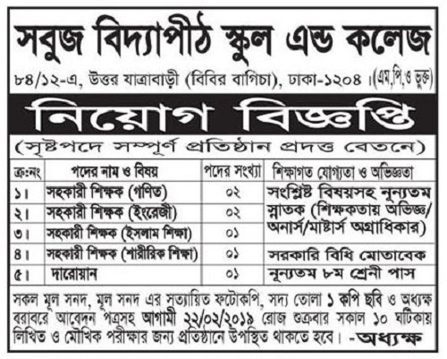 Sabuj Vidyapith School and College Job Circular 2019