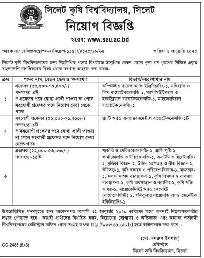 Sylhet Agricultural University (SAU) Job Circular 2020