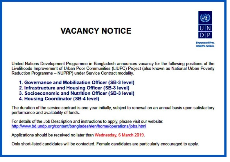 UNDP Bangladesh Job 2019