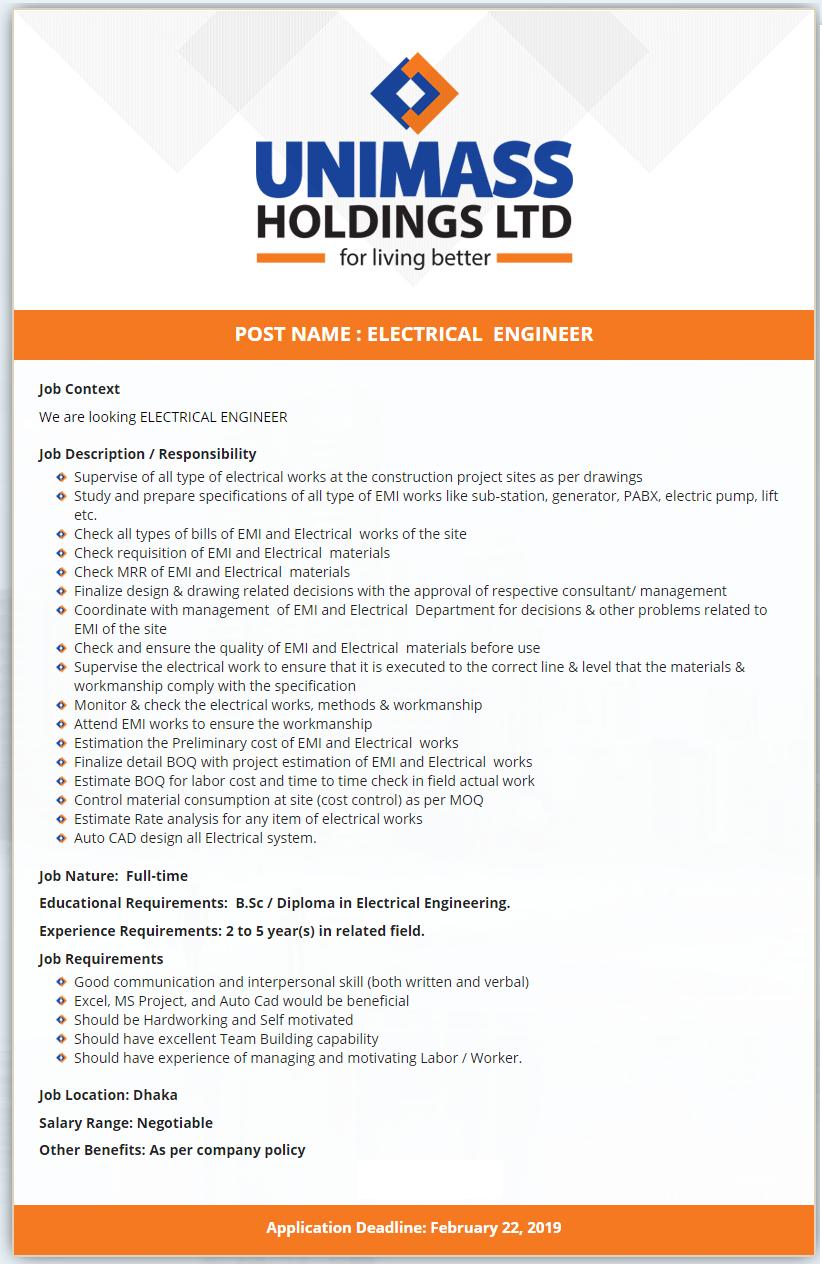 Unimass Holdings Limited Job Circular 2019