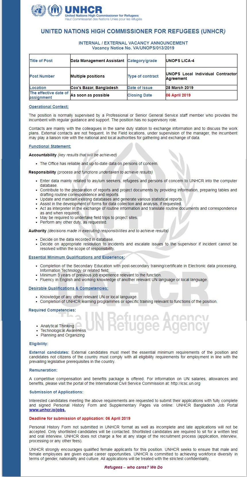 United Nations High Commissioner for Refugees Job Circular 2019
